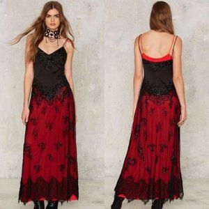 Nasty Gal Collection Gothic Boho Beaded Maxi Dress